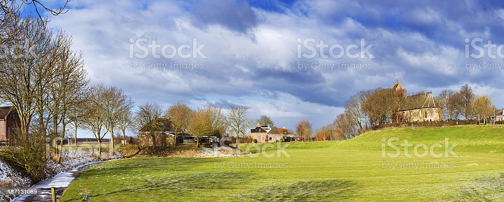 Old village on a mound ('terp'), Ezinge, Groningen, The Netherlands stock photo