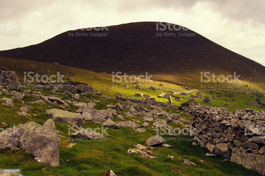 Old village on Hirta Island stock photo