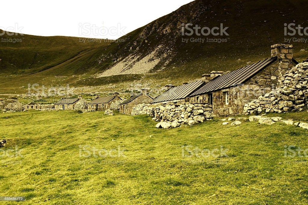Old village on Hirta Island stock photo