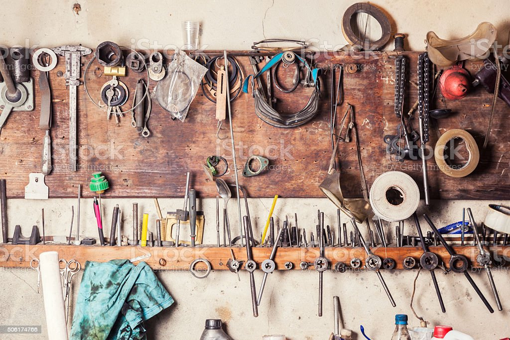 Old vinrtage tools stock photo