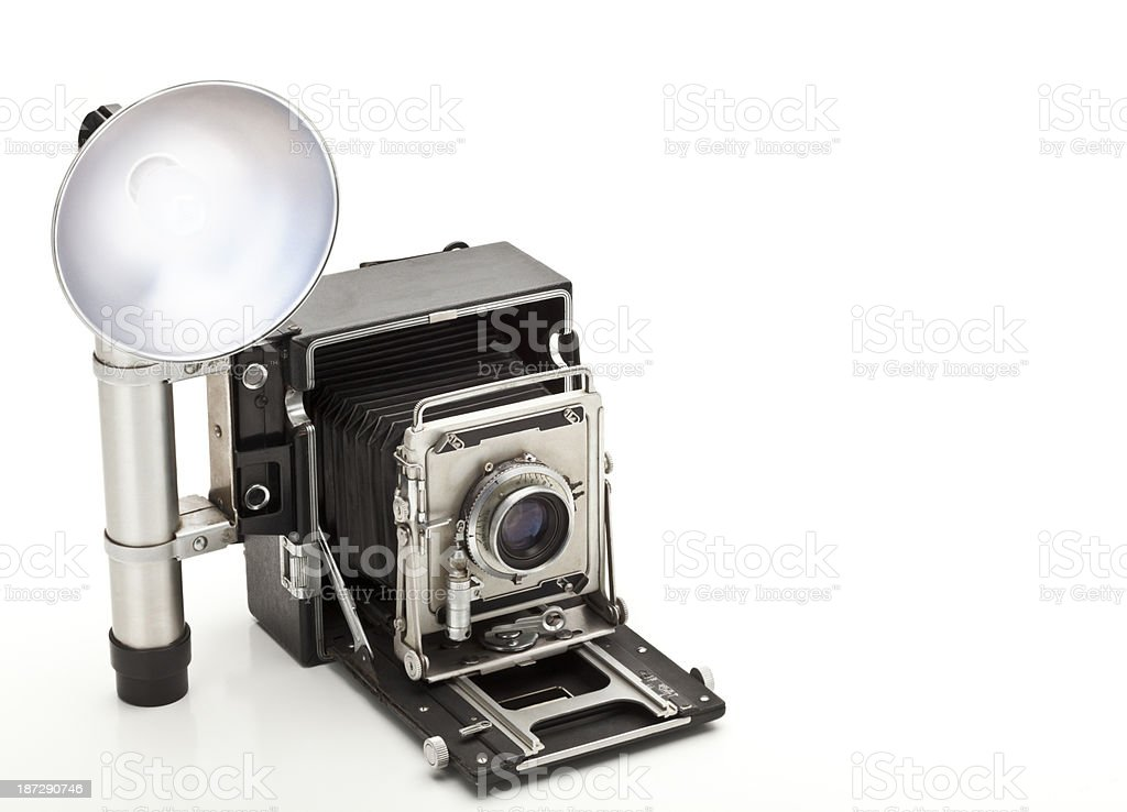 Old, Vintage 4 x 5 Press Camera, Isolated on White. royalty-free stock photo