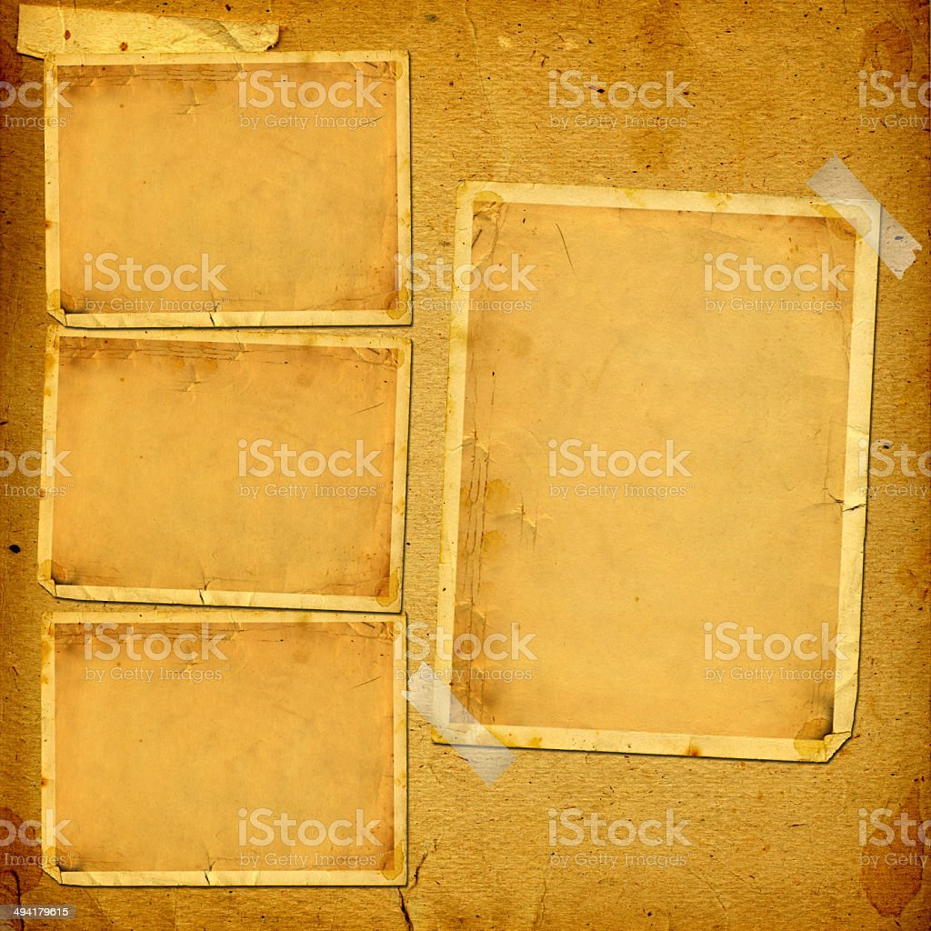 Old vintage album with paper frames for photos stock photo