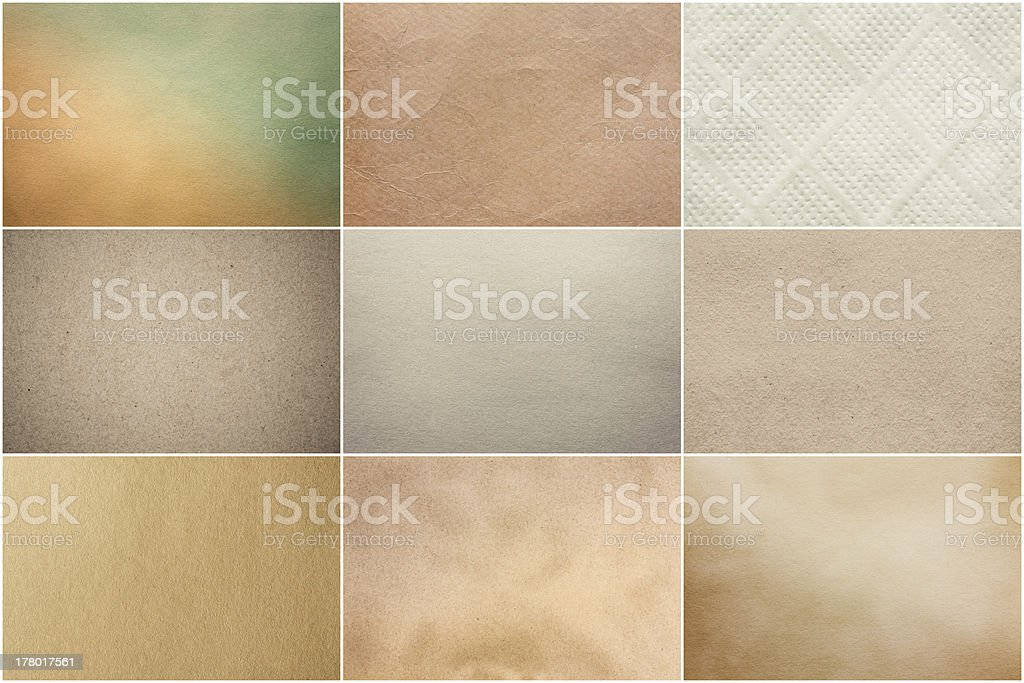 Old Vintage Beige Papers Texture Set Background royalty-free stock photo