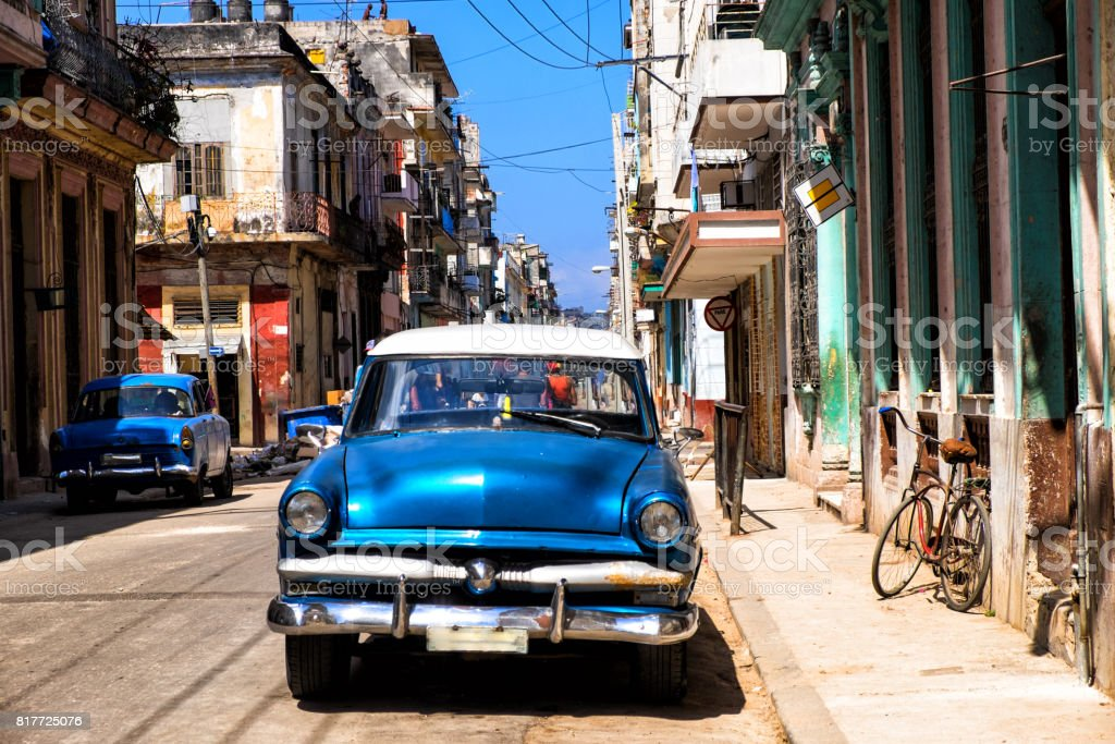 Old Vintage Blu American car in Havana, Cuba stock photo