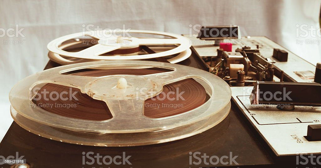 old vintage bobbin stereo closeup stock photo