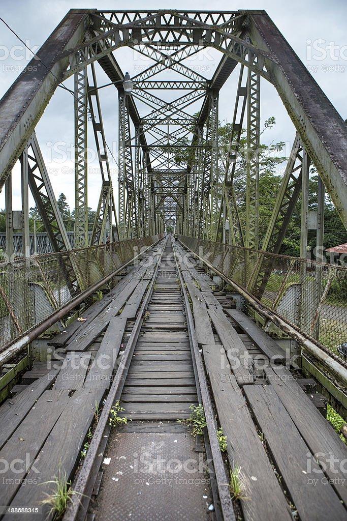 Old vintage bridge at Sixaola stock photo