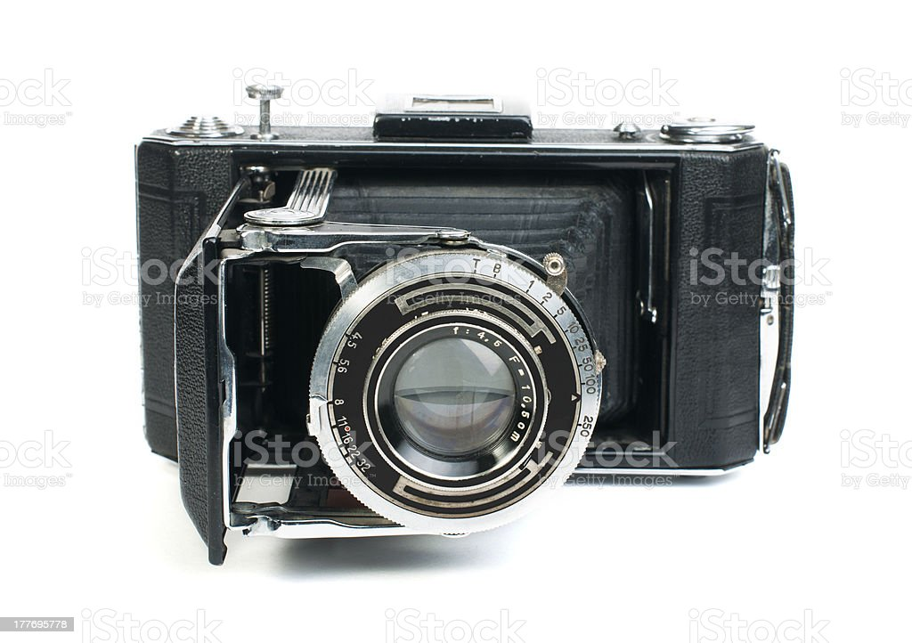 Old vintage camera white isolated royalty-free stock photo