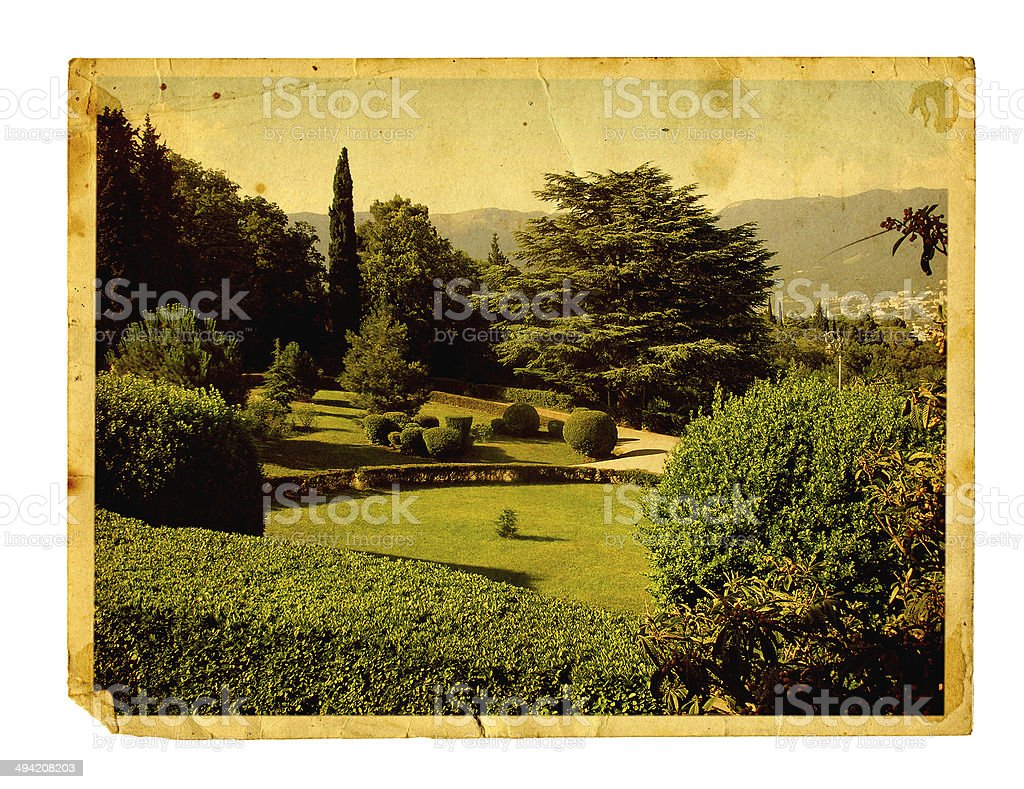 Old vintage card with beautiful Livadia Park isolated stock photo