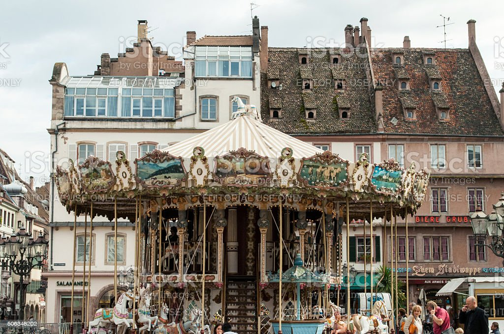 Old vintage carousel merry-go-round in the PLace Kleber, Strasbourg stock photo