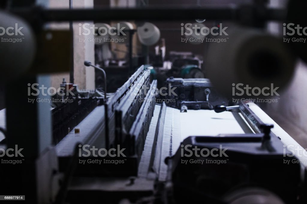Old vintage cloth manufacture stock photo