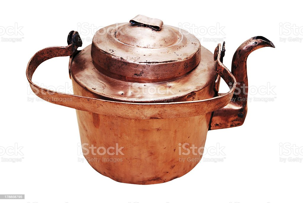 old vintage copper teapot stock photo