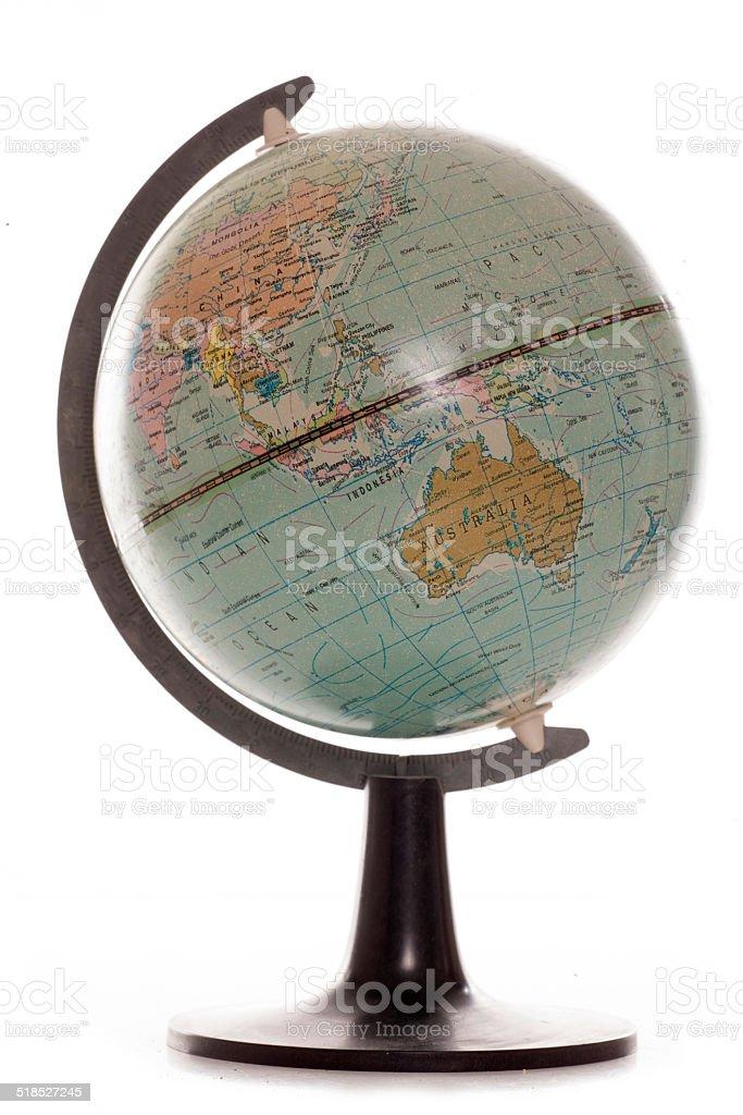 Old vintage desk globe stock photo