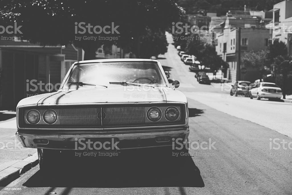 Old Vintage Dodge in San Francisco, Black and White royalty-free stock photo