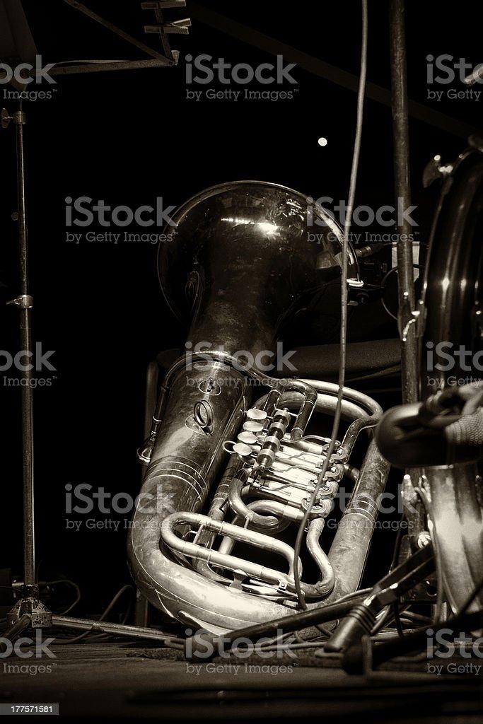 Old vintage euphonium, tuba stock photo