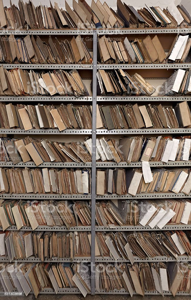 old vintage file documents in  storage room stock photo