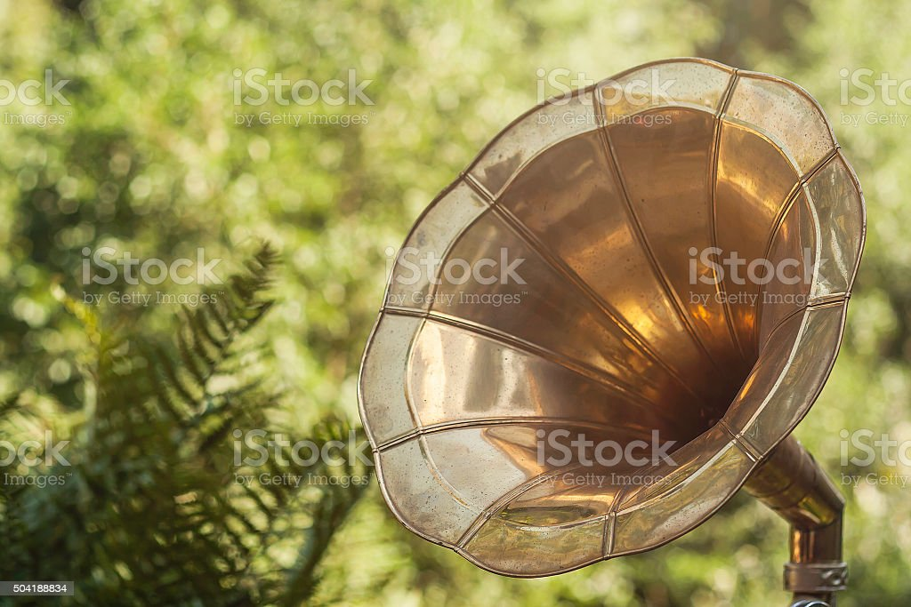 old vintage gramophone stock photo
