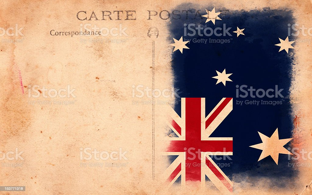 XXXL Old Vintage Grunge Post Card Australia Flag royalty-free stock photo
