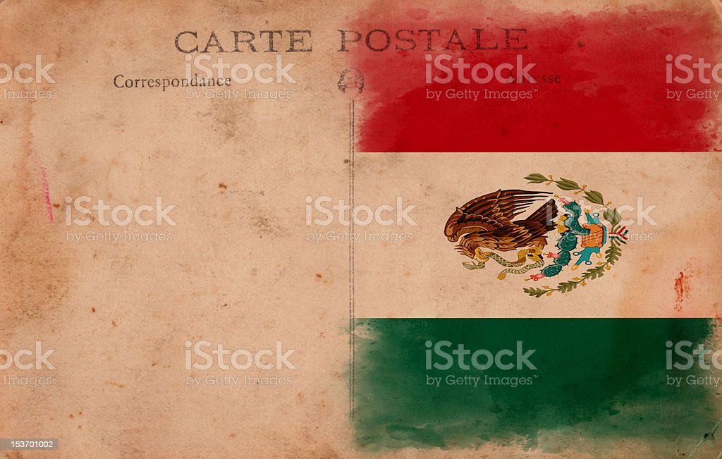 XXXL Old Vintage Grunge Post Card Mexico Flag stock photo