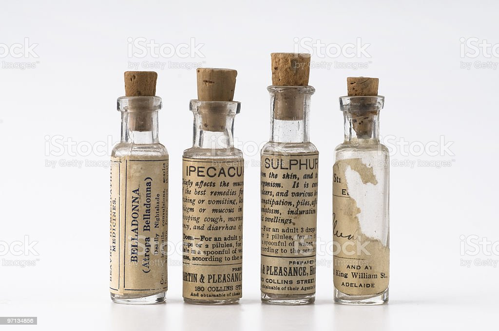 Old Vintage Homeopathic Medicine stock photo