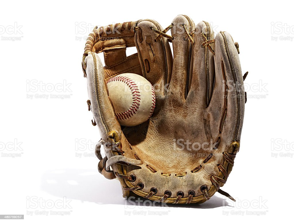 Old vintage leather baseball glove stock photo