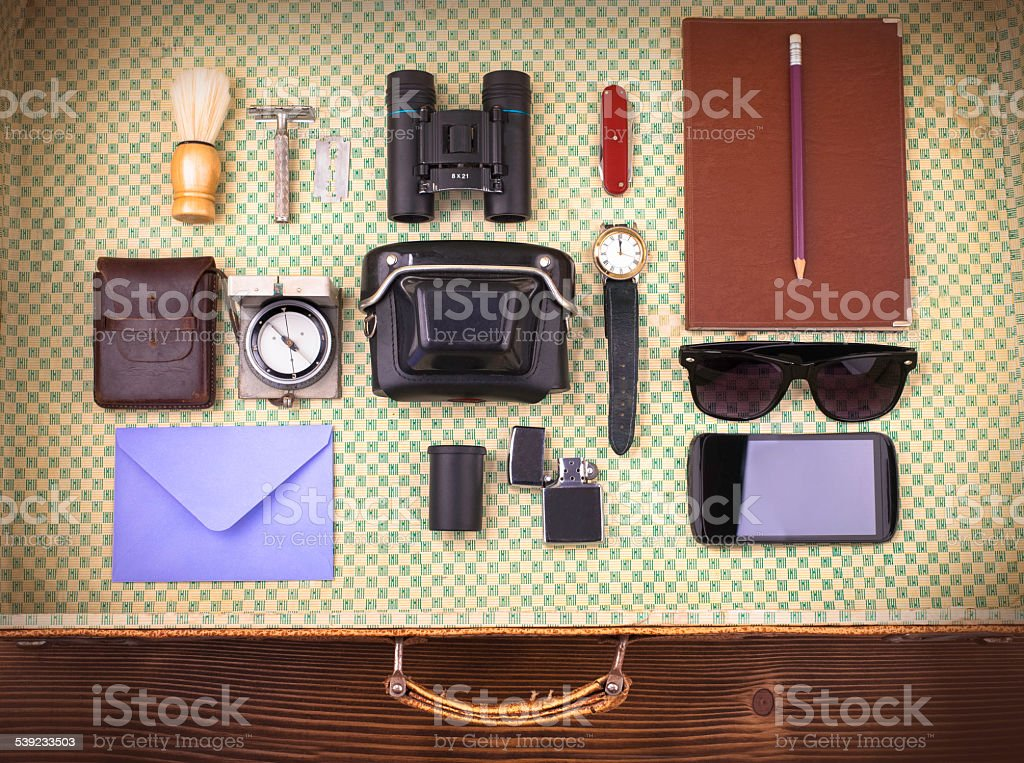 old vintage leather suitcase stock photo