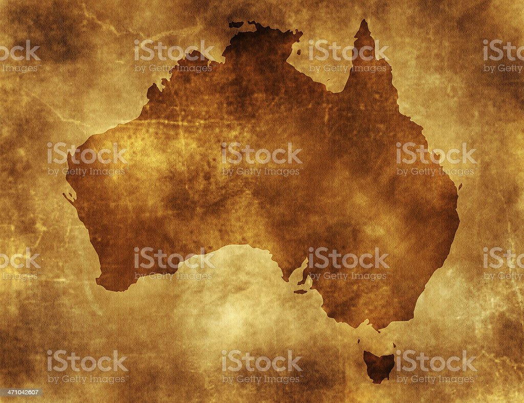 Old vintage looking map of Australia stock photo