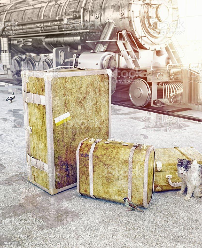 old vintage luggage stock photo