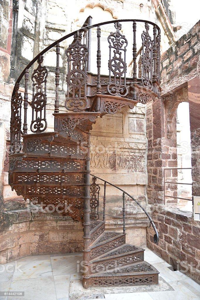 old vintage metal stair case stock photo