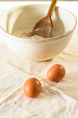 Old Vintage Mixing Bowl With  Flour And Eggs