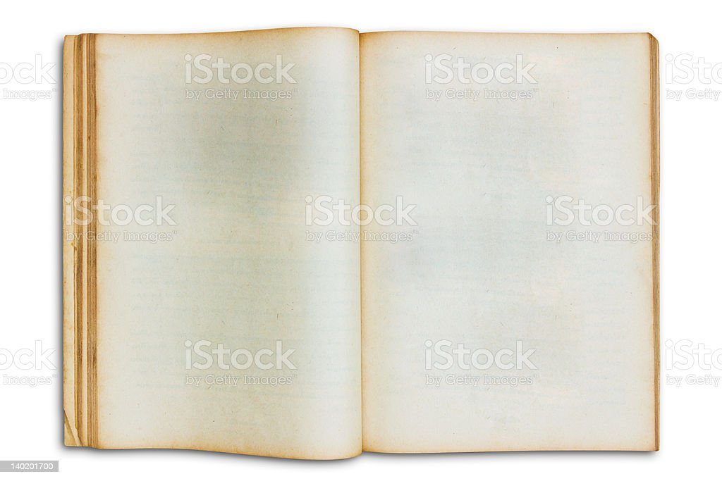 Il vecchio libro aprire isolato Bianco vintage foto stock royalty-free