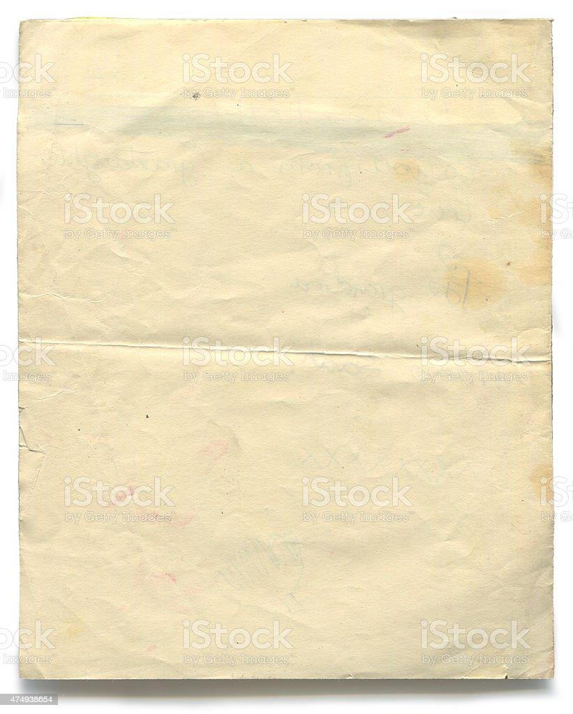 Vintage vecchia carta (incluso il clipping path) foto stock royalty-free