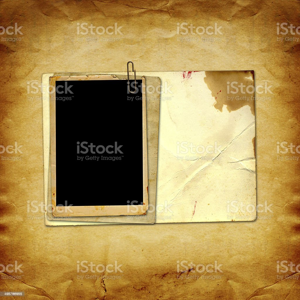 Old vintage paper with grunge frames for photos stock photo