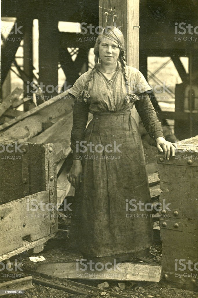 Old Vintage Photo of Woman at Coalpit Head royalty-free stock photo