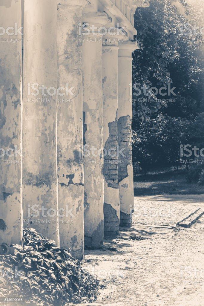 Old vintage photos. Oid Ruins column park stock photo