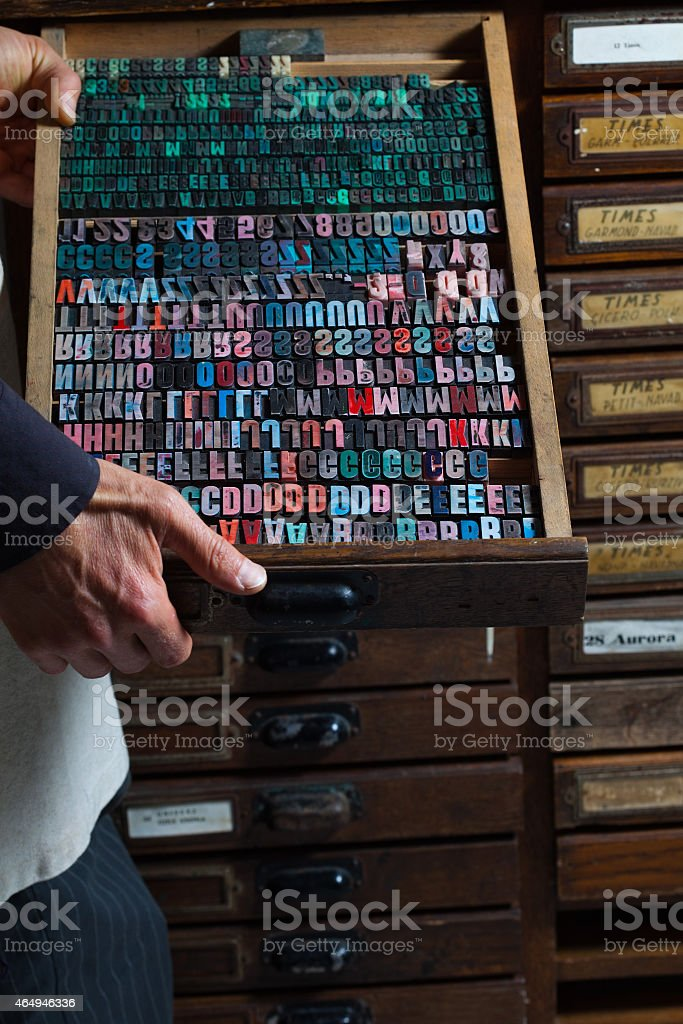 Old vintage printing press letters stock photo