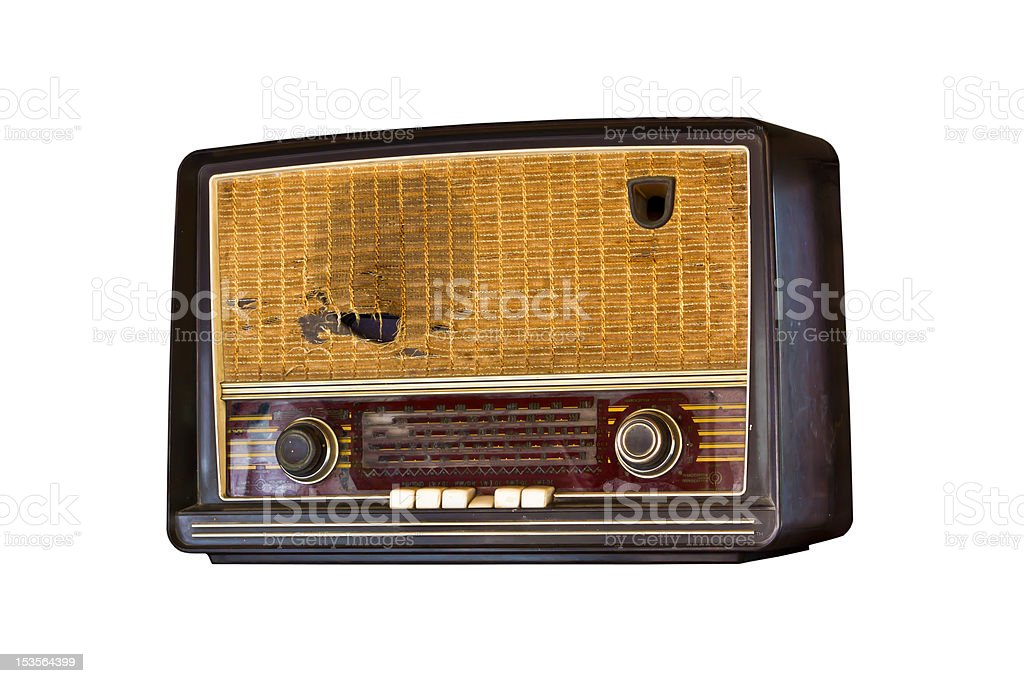 Vecchio vintage radio isolato foto stock royalty-free