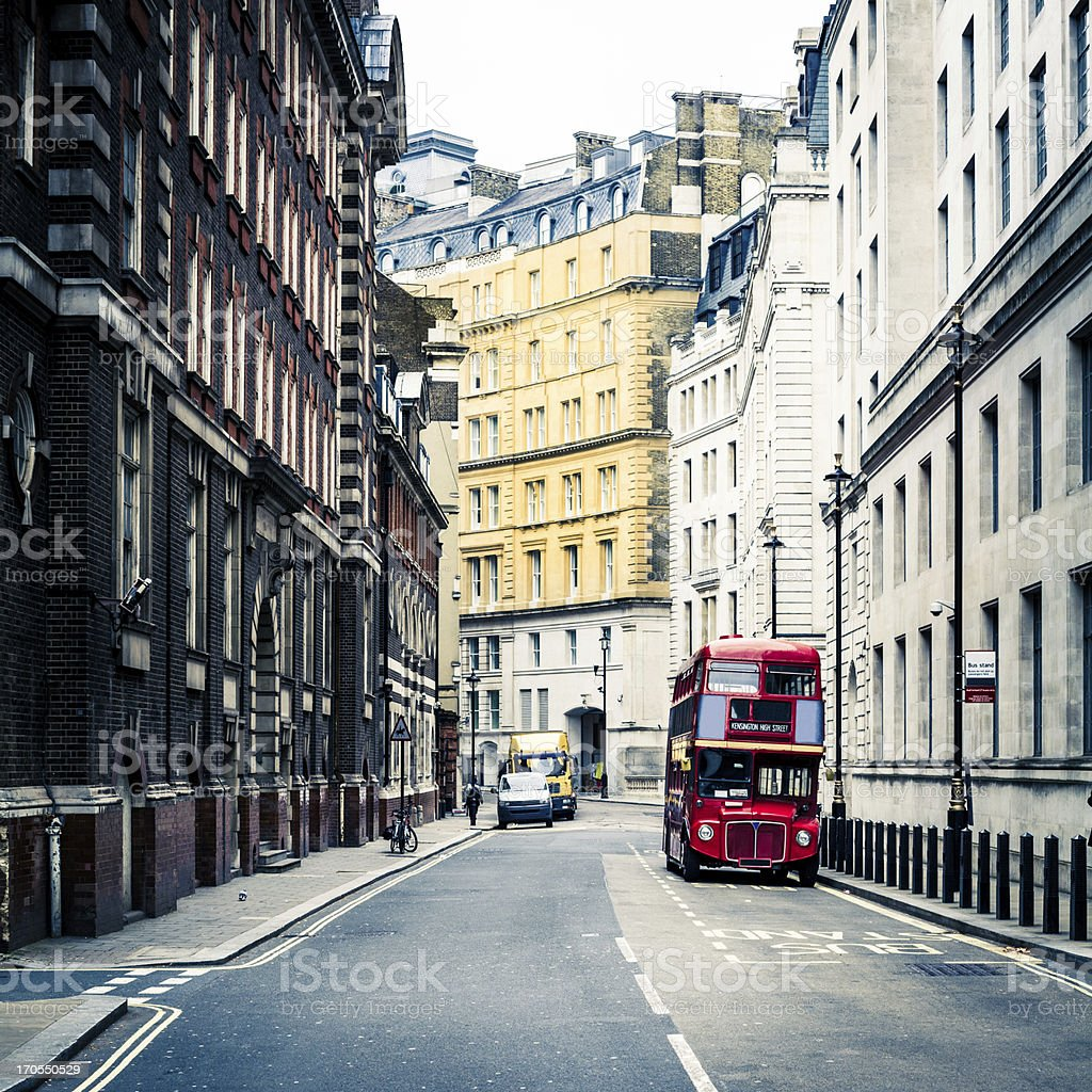 Old Vintage Red Double Decker Bus in London stock photo