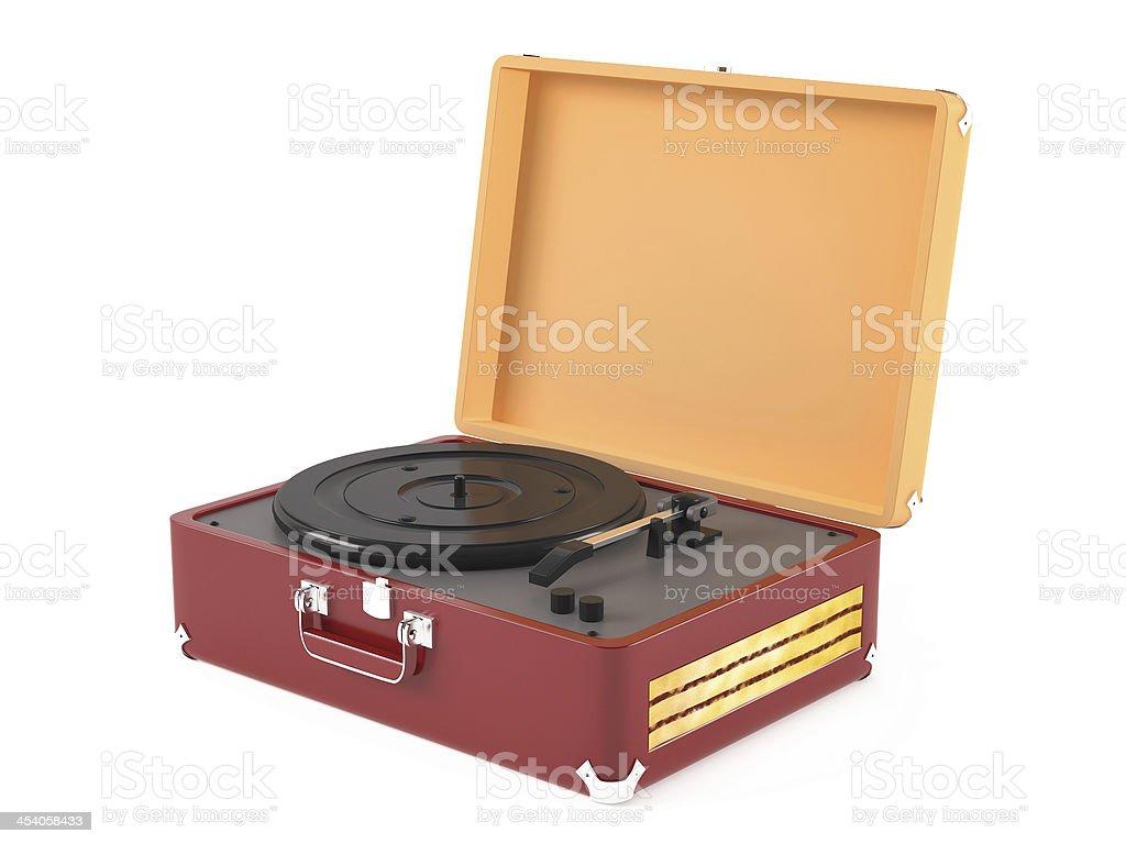 Old vintage retro portable gramophone stock photo