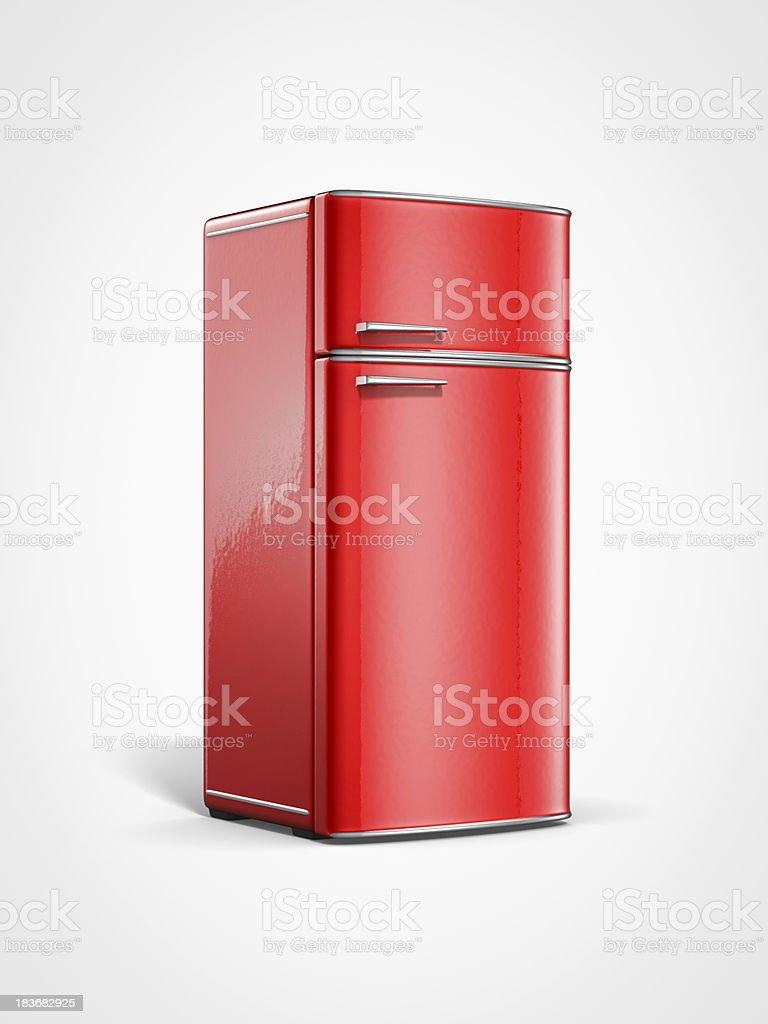 old vintage retro red refrigerator royalty-free stock photo