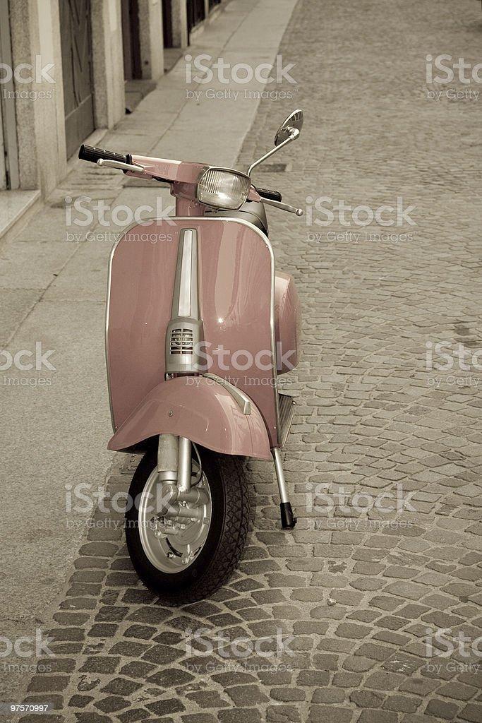 Old Vintage Scooter, Urban Scene stock photo