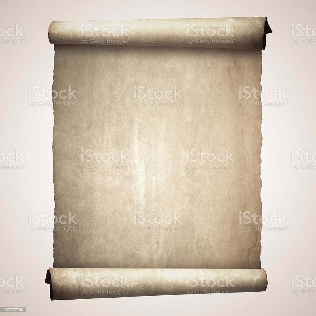 Old vintage scroll isolated on white background stock photo