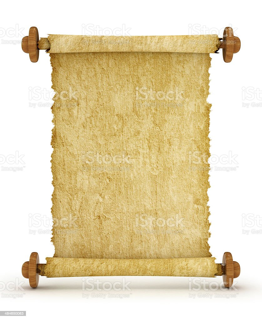 Old vintage scroll isolated on white background royalty-free stock photo