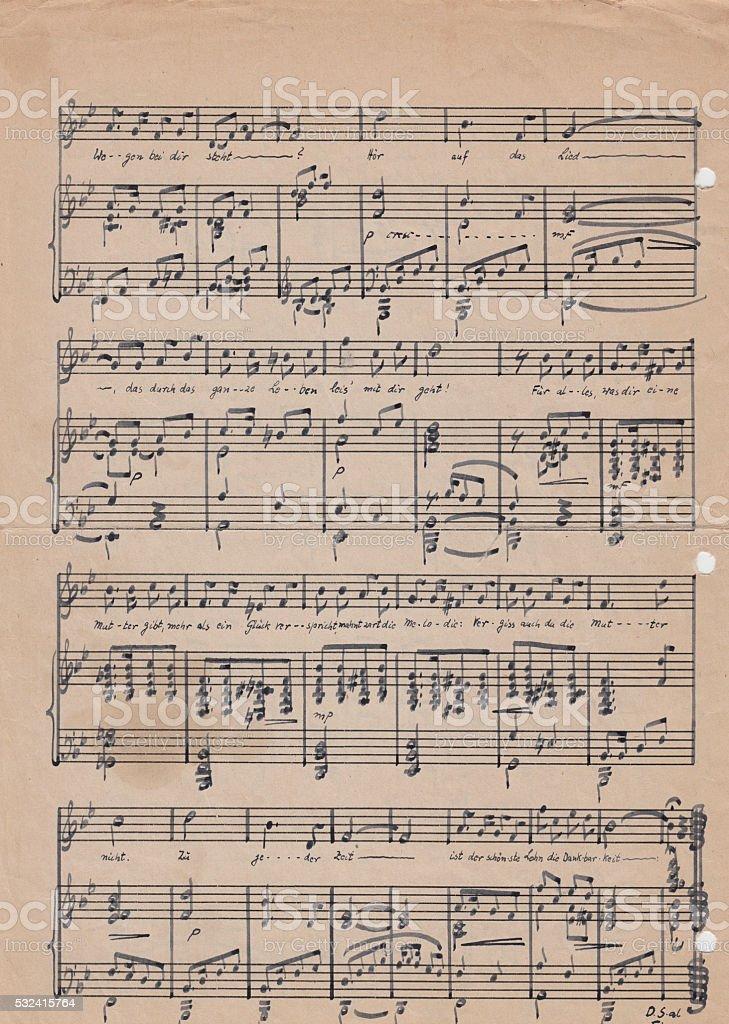 Old vintage sheet music stock photo