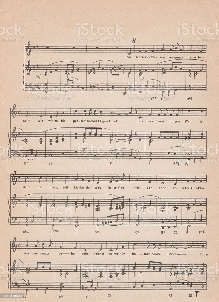 Old vintage sheet music stock photo
