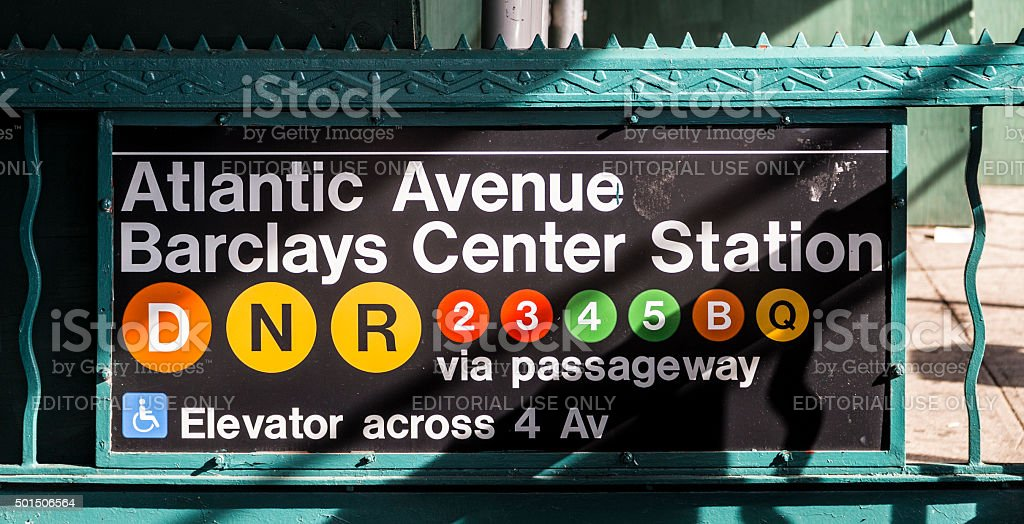 old vintage sign Atlantic avenue and Barclays Station stock photo