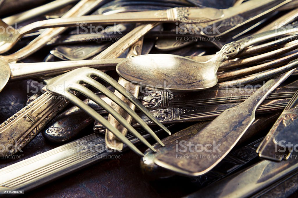 Old Vintage Silverware stock photo