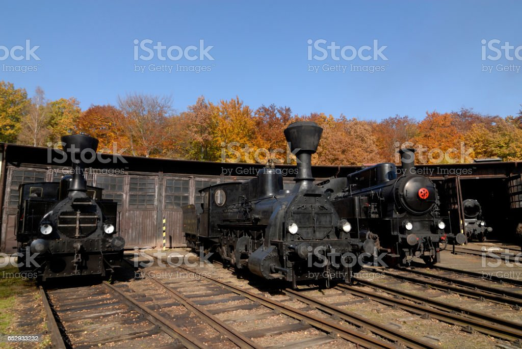 Old Vintage Steam Locomotive At The Train Depot stock photo