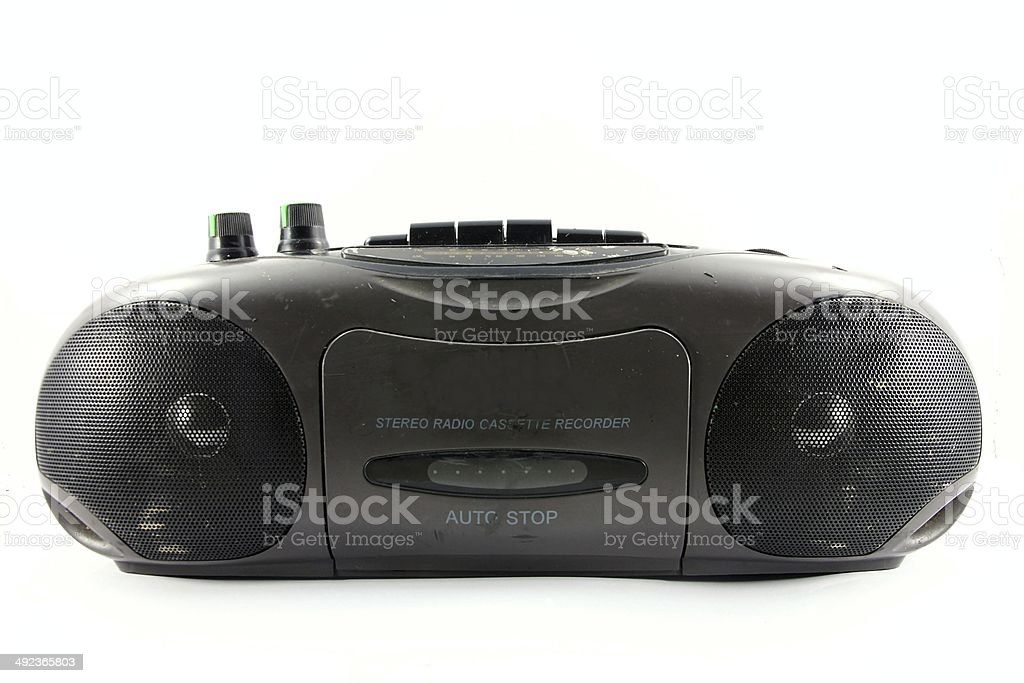 Old vintage stereo cassette/radio recorder. stock photo