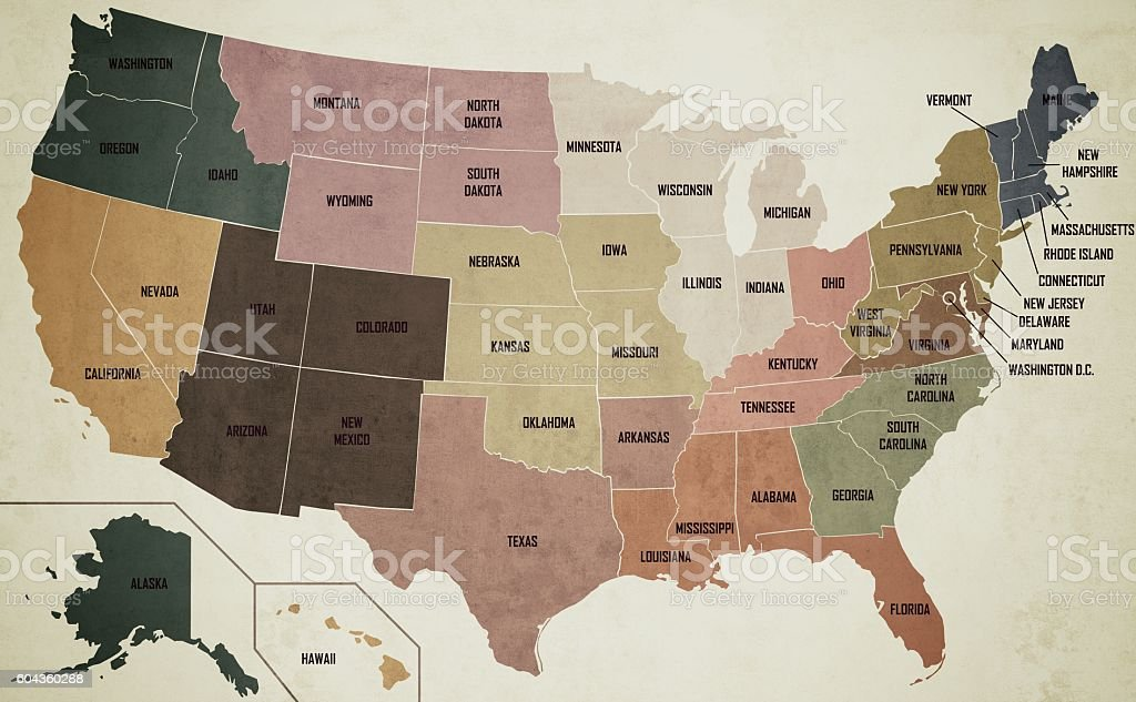 Old Vintage Style Color Map Of U.S.A. With State Names stock photo