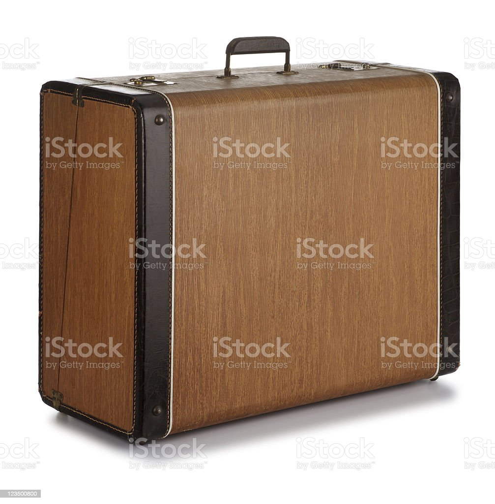 Old Vintage Suitcase Isolated on White stock photo